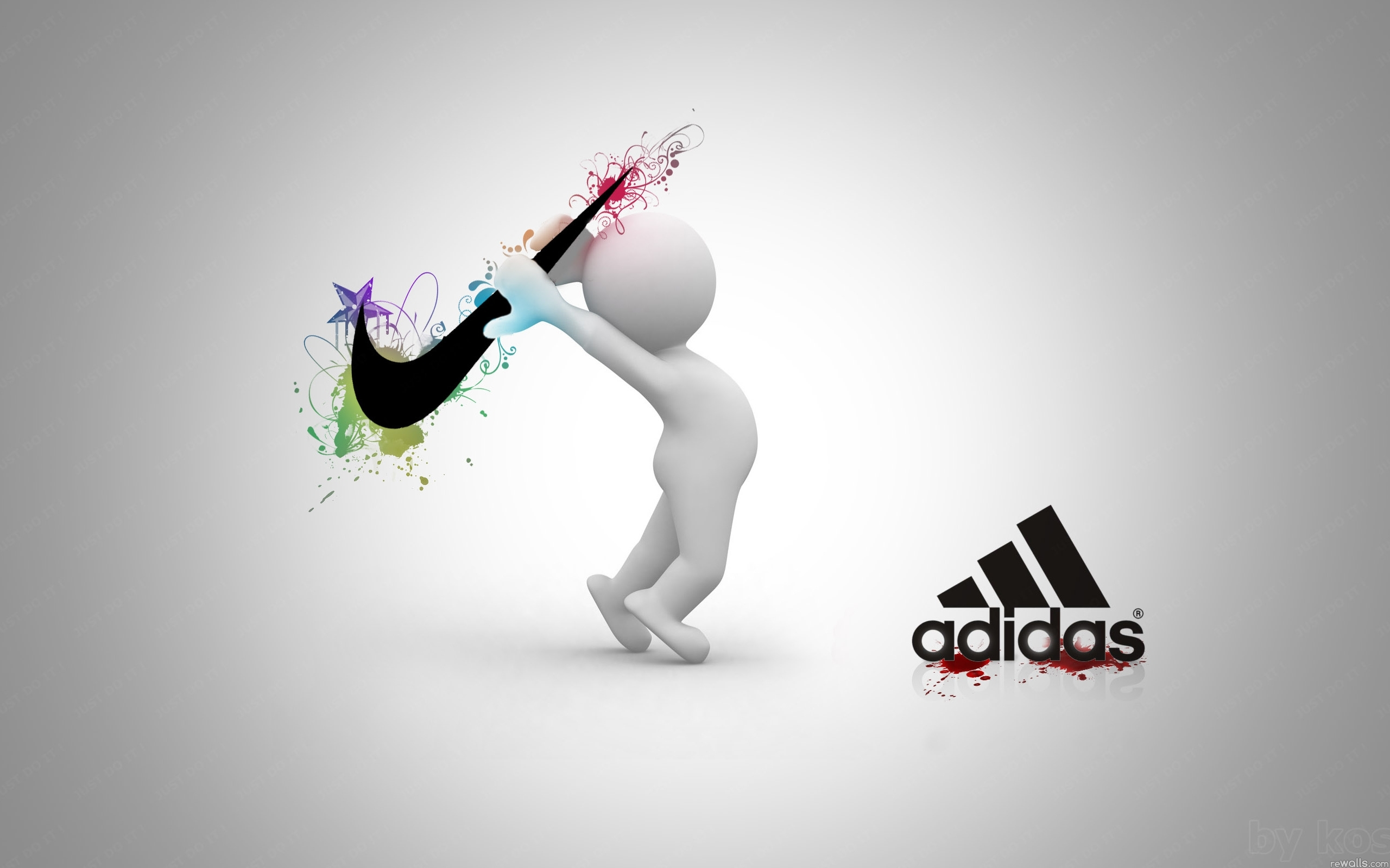 Funny Nike vs Adidas Logo Wallpaper